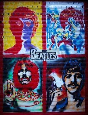 Affisch Beatles grafittivägg i Moskva, Stroitelei street