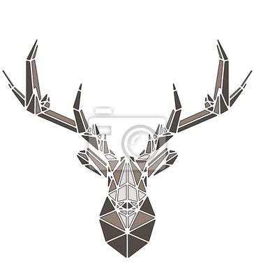 Affisch Beautiful deer geometric triangle shape design