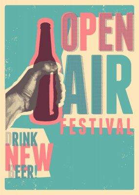 Affisch Beer open air festival typographical vintage grunge pop-art style poster design. Retro vector illustration.