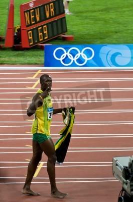 Affisch Beijing, Kina - 16 augusti: Sprinter Usain Bolt sätter nya 100 meter världsrekord för män