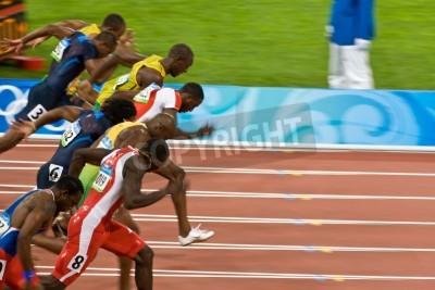 Affisch Beijing, Kina 18 augusti, 2008, OS, 100 meter sprint, Start män