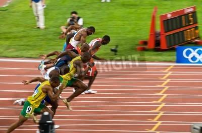 Affisch Beijing, Kina - Aug 16, 2008 :, OS bryter Usain Bolt borta i 100 meter långa loppet för Män
