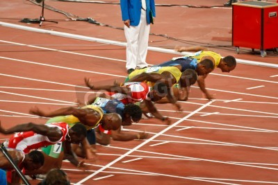 Affisch Beijing, Kina, OS - 18 Augusti 2008: 100 meter Sprint startlinjen, Start av Män