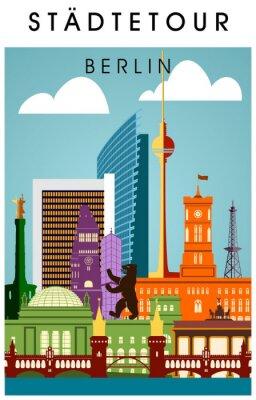 Affisch Ber Affisch bunt mit wichtigen Sehenwürdigkeiten hochkant Silhouette Panorama
