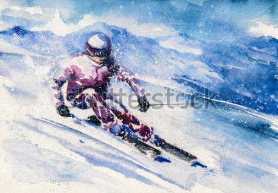 Affisch Bergskidåkare glider från berget. Bild skapad med akvareller.