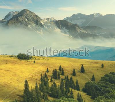 Affisch bergslandskap, stenigt berg i en dimma lindar en gräsbäck