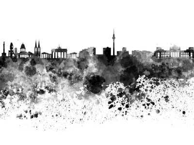 Affisch Berlin horisont i svart vattenfärg