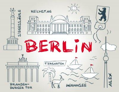 Affisch Berlin, landmärke, illustration