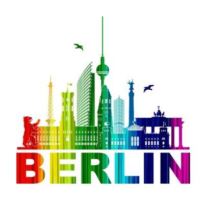 Affisch Berlin siluett kontur Wandtatoo silhuett element Rainbow TV-tornet Bear Rathhaus Reichstag Brandenburger Tor Funkturm