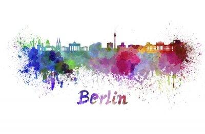 Affisch Berlin skyline i vattenfärg