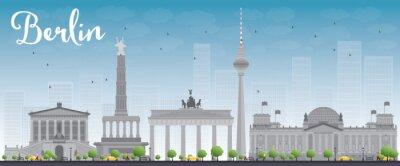 Affisch Berlin skyline med grå byggnad och blå himmel.