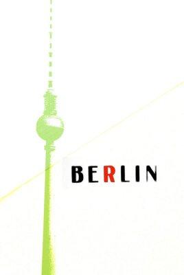 Affisch Berlin Tappningvykortet - TV-tornet och bokstäver på abstrakt backg