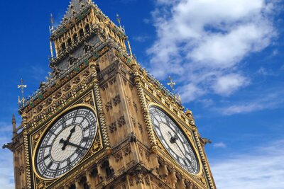 Affisch Big Ben närbild på en blå himmel, England Storbritannien