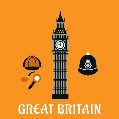 Affisch Big Ben torn och andra britain objekt