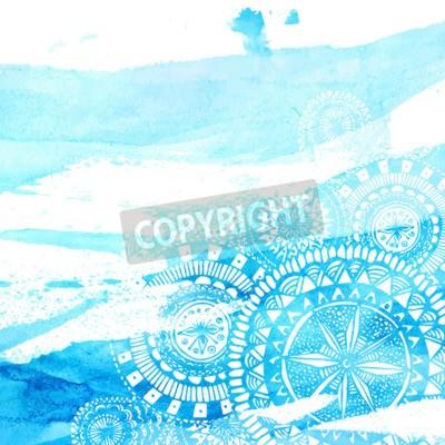 Affisch Blå akvarell penseldrag med vit handritad mandalas - runda klotter indiska element. Vektor sommardesign.