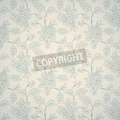 Affisch Blå blom- prydnad på ljus bakgrund