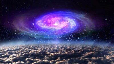 Affisch blå galax på natten i utrymmet.