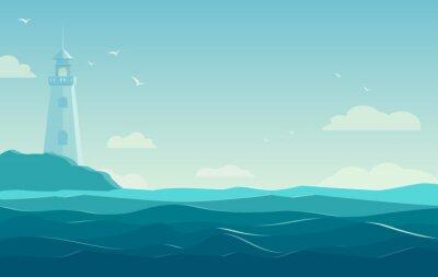 Affisch blå havet bakgrund med vågor och fyr. Vector Illustration