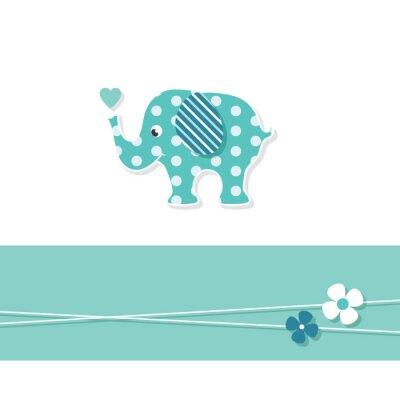 Affisch blå pojke elefant kort