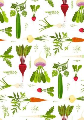 Affisch Bladgrönsaker och gröna sömlösa mönster bakgrund