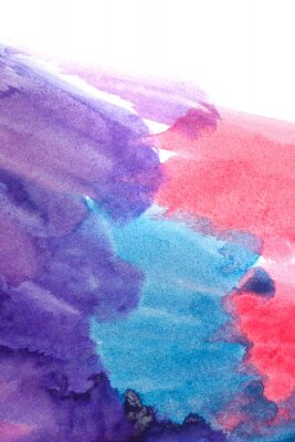 Affisch Blått, lila, röda abstrakta akvareller.