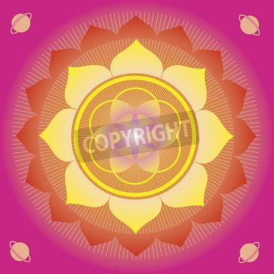 Affisch blomma element och mandalas med esoterisk mening för yoga och design för hälsa och välbefinnande