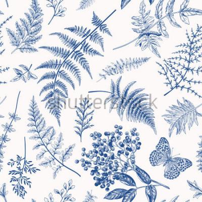 Affisch Blommigt sömlöst mönster i vintage stil. Olika löv av ormbunkar, bär och fjäril. Vektor botanisk illustration. Blå.