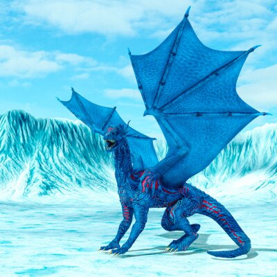 Affisch blue ice dragon is looking for food on frozen land