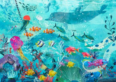 Affisch blue underwater background with fish