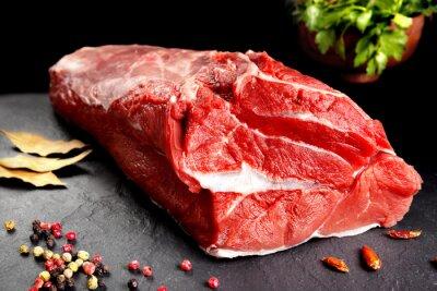 Affisch Bodegón, pieza de carne, chuleton listo para cocinar