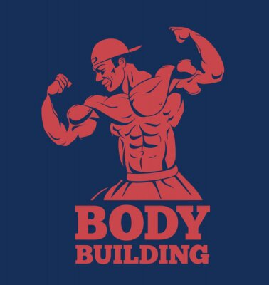 Affisch bodybuilder muskler man fitness modell poserar logotyp. kroppsbyggare som visar muskler bodybuilding emblem