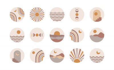Affisch Boho social media highlight covers. Abstract stories contemporary style, sun moon story round icons, vector mid century illustration