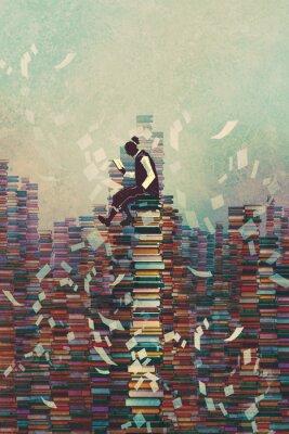 Affisch bokmanavläsning sitter på hög med böcker, kunskap begrepp, illustration målning