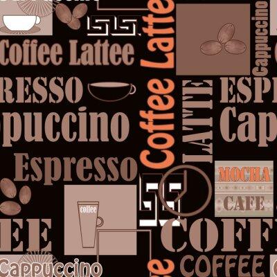 Affisch Bokstäver kaffe och ikoner seamless retro bakgrund