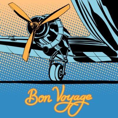 Affisch Bon voyage retro resor flygplan affischen