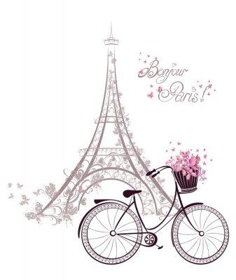 Affisch Bonjour Paris text med Eiffeltornet och cykel