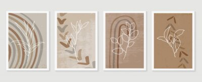 Affisch Botanical and golden line wall art vector set. Earth tone boho foliage line art drawing with  abstract shape.  Abstract Plant Art design for print, cover, wallpaper, Natural wall art..