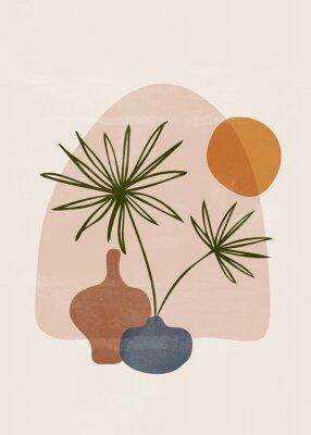 Affisch Botanical vintage print boho sun minimalist wall art