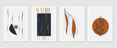 Affisch Botanical wall art vector set. Earth tone boho foliage line art drawing with  abstract shape.  Abstract Plant Art design for print, cover, wallpaper, Minimal and  natural wall art.