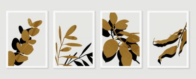 Affisch Botanical wall art vector set. Foliage line art drawing with  abstract shape.  Abstract Plant Art design for print, cover, wallpaper, Minimal and  natural wall art. Vector illustration.