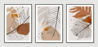 Affisch Botanical wall art vector set. Golden foliage line art drawing with watercolor.  Abstract Plant Art design for wall framed prints, canvas prints, poster, home decor, cover, wallpaper.
