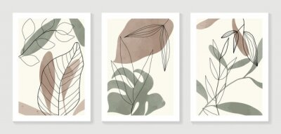 Affisch Botanical wall art vector set. Water color boho foliage line art drawing with  abstract shape.  Abstract Plant Art design for print, cover, wallpaper, Minimal and  natural wall art.