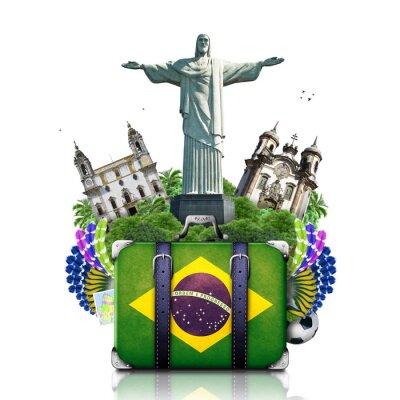 Affisch Brasilien, Brasilien landmärken, resor och retro resväska