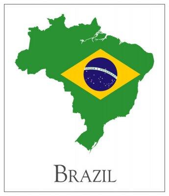 Affisch Brasilien flagga