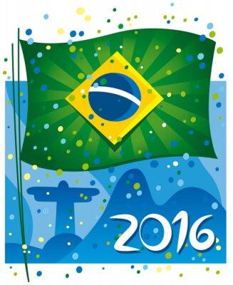 Affisch Brasilien flagga fira det nya året i underbara stad