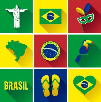Affisch Brasilien Flat ikoner. Uppsättning av vektorgrafik platta ikoner som representerar landmärken och symboler i Brasilien.