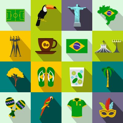 Affisch Brasilien ikoner platt