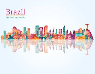 Affisch Brasilien Landmark silhuett. vektor