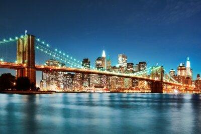 Affisch Brooklyn bridge at night