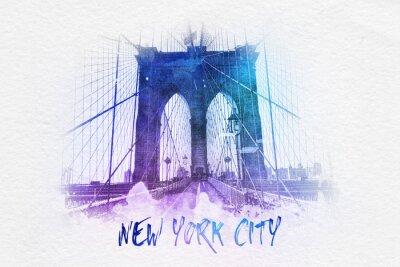 Affisch Brooklyn bridge med New York City text